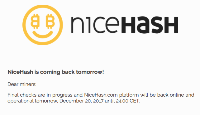 NiceHash Regresa mañana